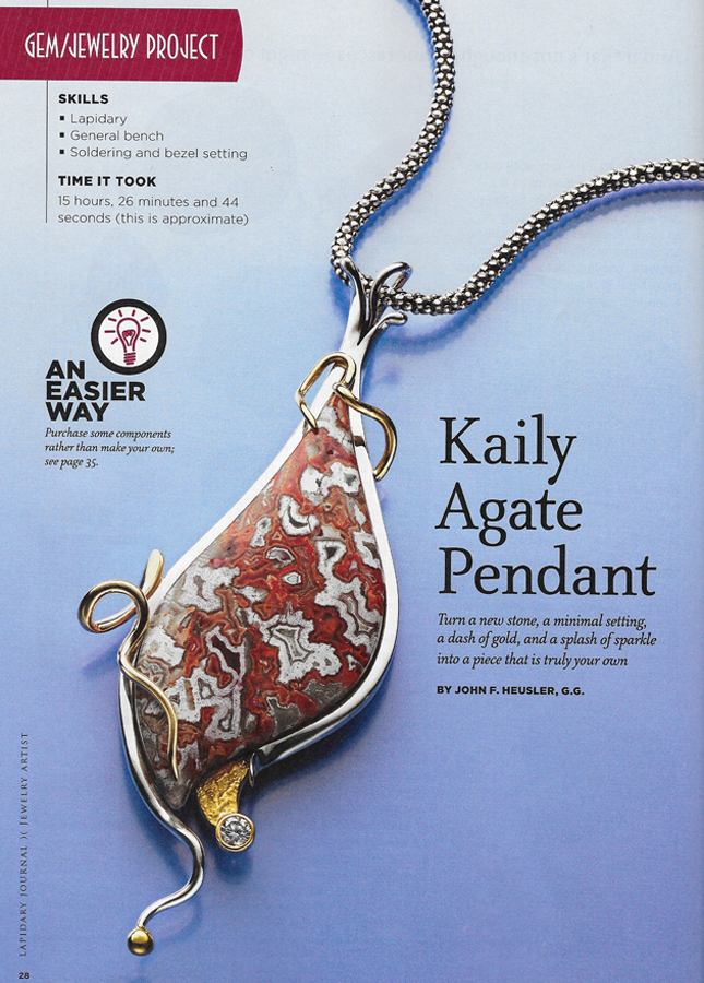 Article on Kaily Agate in Lapidary Journal Jewelry Artist magazine Sept/Oct 2014